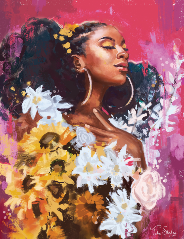 A vibrant mixed media painting of a black woman look up with her eyes closed surrounded by bright flowers