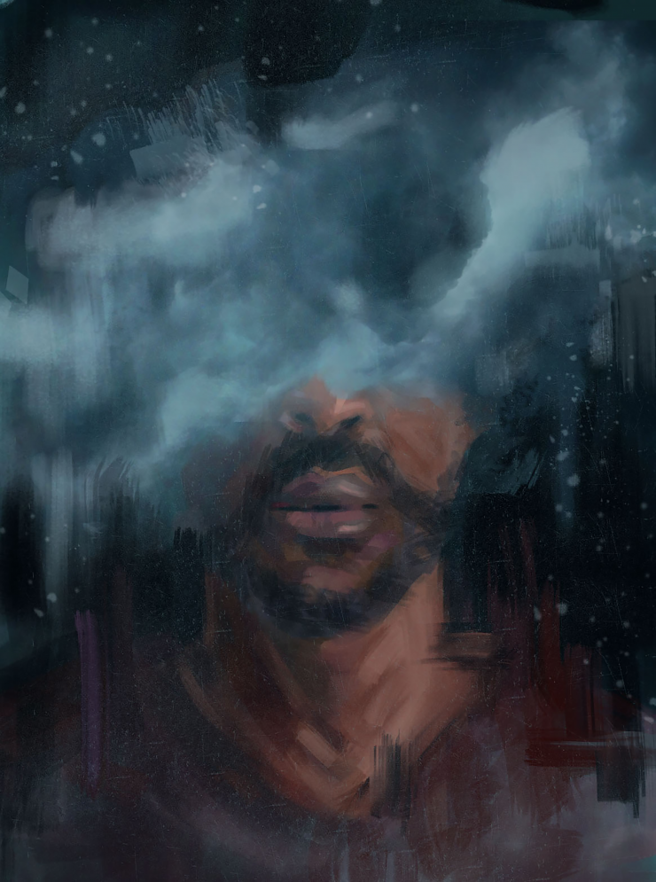 A digital painting / photo collage of a black man surrounded by dark, heavy storm clouds. The clouds cover his eyes but reveal the bottom half of his face and chest.