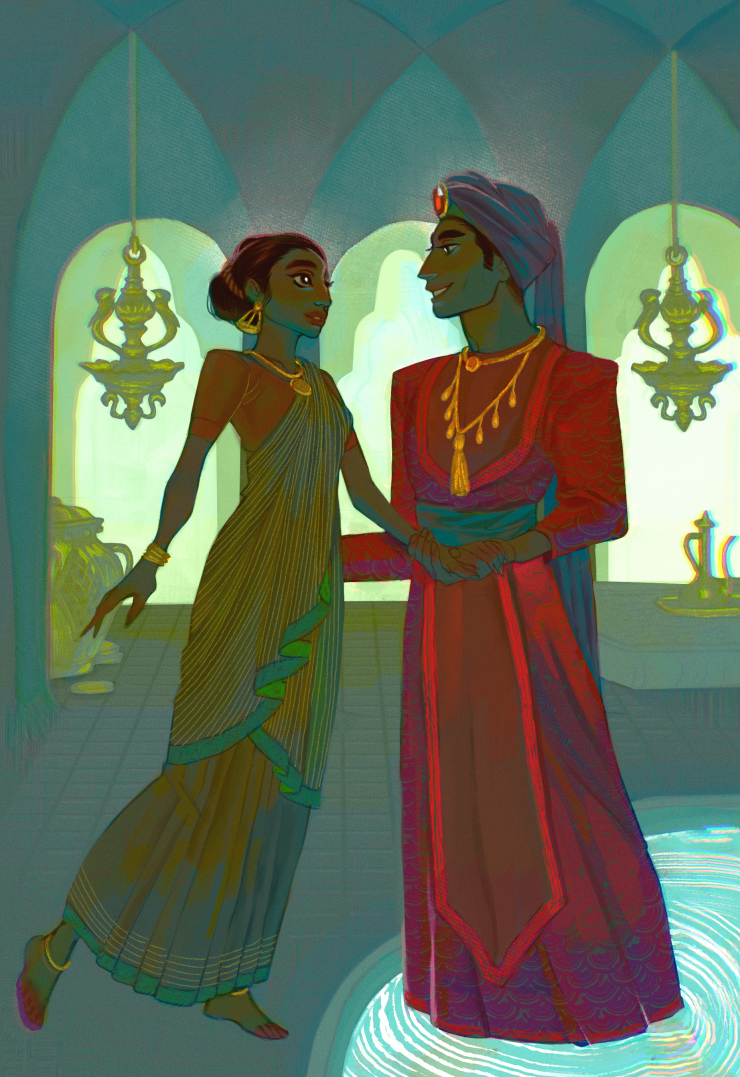 An illustration depicting the Hindu fairy tale The Fish Prince, featuring the scene when the protagonist frees the fish prince from his curse. As a human, he takes her hand and asks her to marry him. The two stand and face each other in a blue palace room