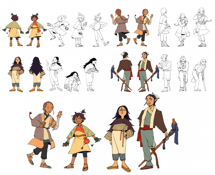 Line up of four character designs in color on the bottom. On the top, each of the characters has an uncolored acting turnaround. In the light up from left to right are, nervous older sibling, spunky mischievous younger sibling, an inscrutable friend, and