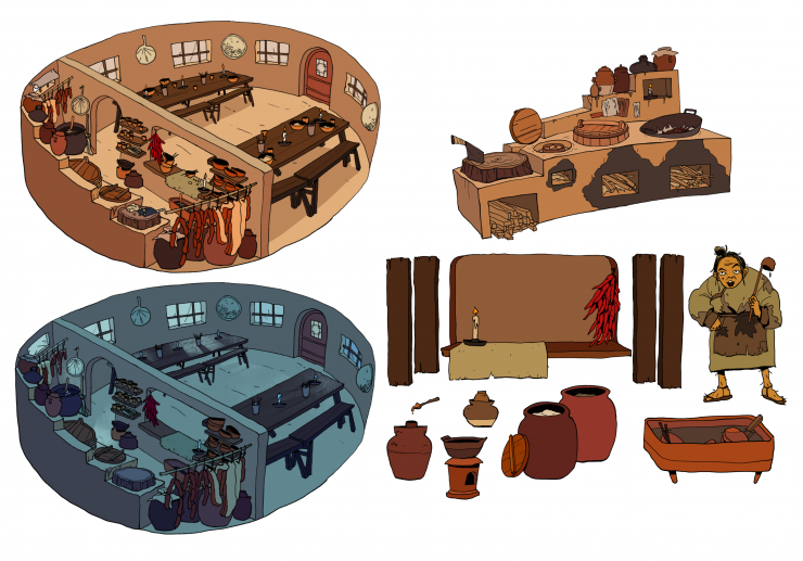 Early images depicting the world my thesis takes place in. Inspired by ancient China. On the left, a restaurant interior, top image shows it during the day, and the bottom shows it at night. On the right, the stove/cooking area, the restaurant owner, the