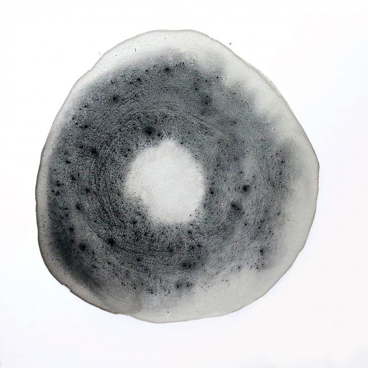A light grey circle with a textured, dark grey ring inside the circle.