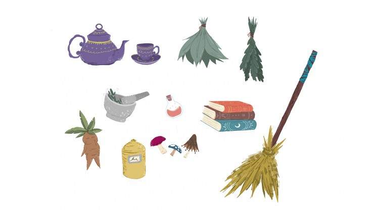 An assortment of items. Top row left to right, a purple teapot and cup with gold accents, and two tied up bundles of hanging leaves. Middle row left to right, a mortar and pestle with herbs inside giving off some sparkles, a glass potion bottle with shimm