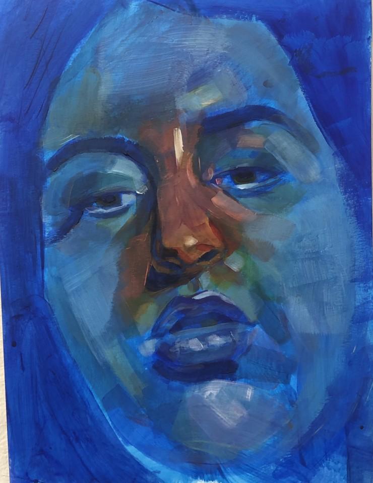 A portrait of a blue face with a bright orange nose.