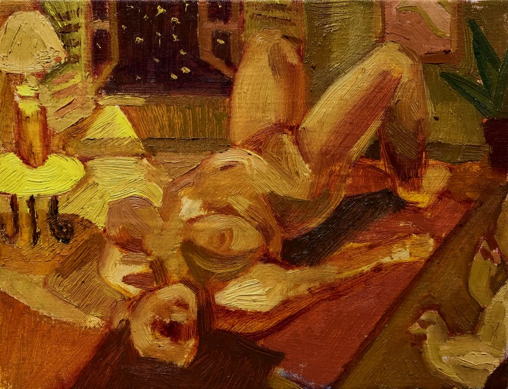A figure lies on the floor in the center of the composition, to the left is a lit lamp that fills the room with yellow light. There is an open window that reveals a night sky. In the bottom right corner there are two chickens.