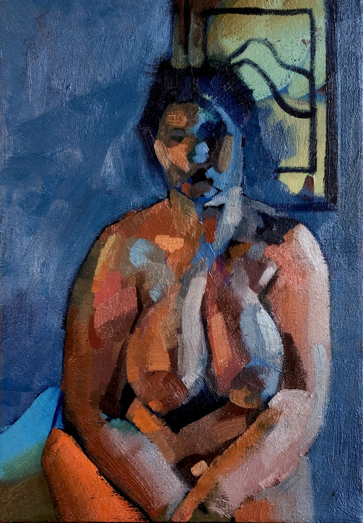 A figure with an abstracted face sits in front of a solid blue background and what appears to be a painting. The figure is mostly orange with the exception of some bright blue light coming in from the right side of the painting.