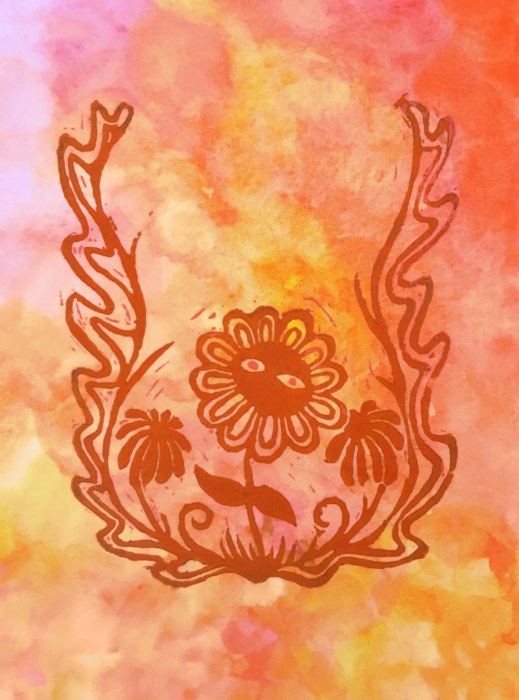 An image of a dazed dark orange cartoonish flower sprouting from a wavy border, flanked by two smaller shadowy flowers against a warm watercolor background.