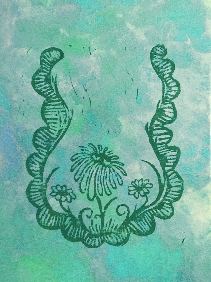 An image of a depressed turquoise cartoonish flower sprouting from a detailed curved border, flanked by two smaller shadowy flowers against a cool watercolor background.