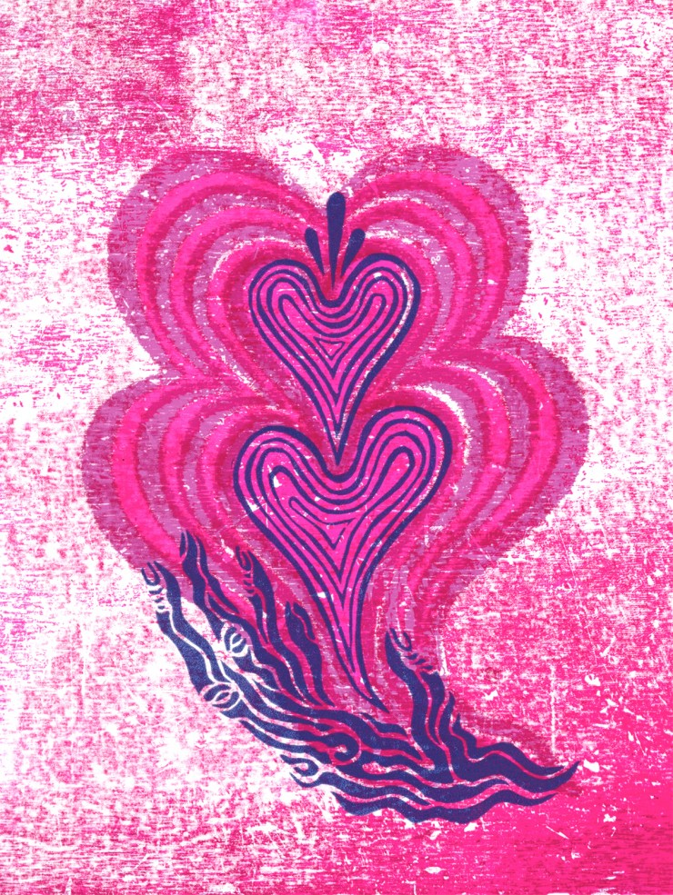 A distorted image of a purple hand carved from linoleum centered on the page against a magenta background with purple hearts emanating from its palm.