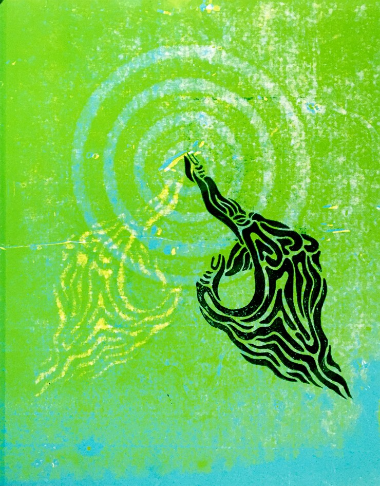 Two mirrored, distorted images of hands carved from linoleum, one light yellow, one dark green, against a lime green background both pointing toward the center of a bright blue target.