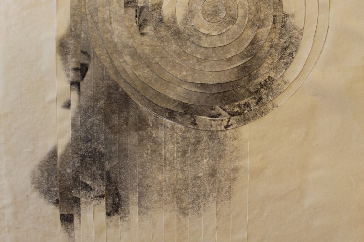 An abstracted black and white image of a woman with a swirled distortion on the right, and a stripped distortion throughout. Depicted in a textural, abstract variety across the picture plane, akin to watercolor painting.