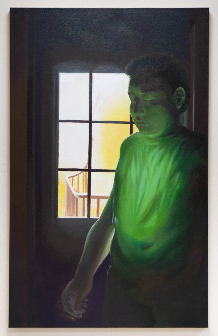 """This painting is of a 23 year old Korean-American man. He holds a burning joint in his hand at around midnight. He has had a long day and is lost in thought, wondering, """"Why doesn't he text me back?"""" A green light glows through the folds of his"""