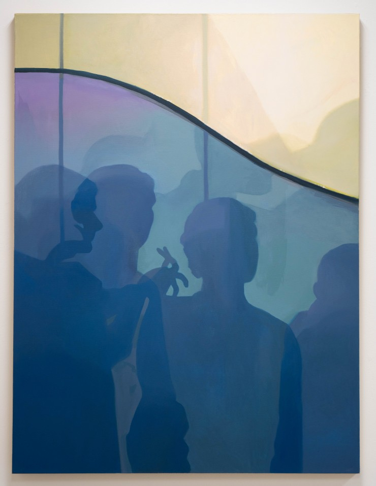 This painting is of my shadow overlapping with many other people in line to see an archaeological tourist attraction. I had been thinking about how many people were all around me, in this line, in this city, in this world. Through history, how many people