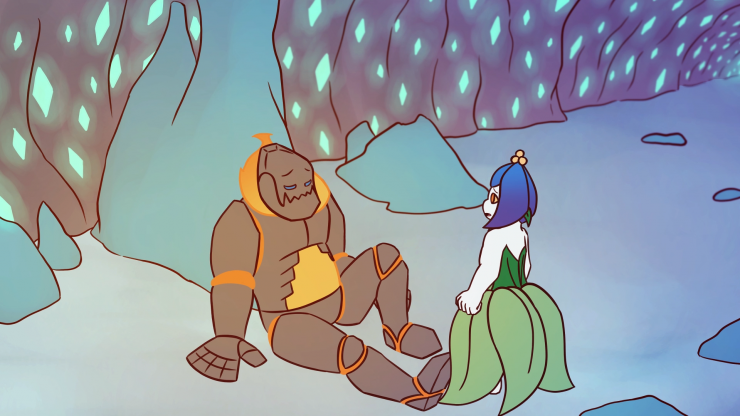 Still image of the animation. Nettle stands to the right, turning towards Igneous and speaking. Igneous is sitting on the ground. The cave around them has walls covered in glowing crystals. The light from the fire around Igneous's neck illuminates the roo