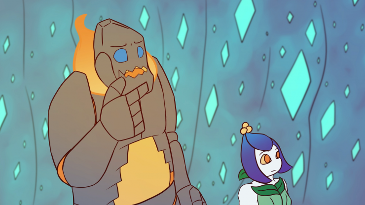 Igneous stands to the left, only his top half visible in the shot. He holds his hand to his chin in a thinking gesture. Nettle stands to the right, looking in that direction.
