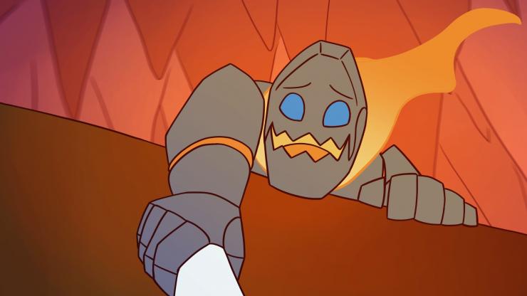A close up shot of Igneous looking over the edge of a cliff, his hand holding onto Nettle's arm. The camera is looking up at Igneous, where stalactites hang from the ceiling. The edge of the cliff cuts the image diagonally.