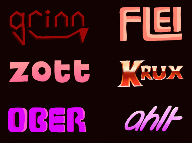 Six logos, all in varying shades of red and pink. They're in three rows and two columns.   Reading left to right: Grinn, Flei, Zott, Krux, Ober, and Ahlt. Grinn is thin, lowercase and angular--with a fanged smile accent. Flei is thick, capitalized, and re