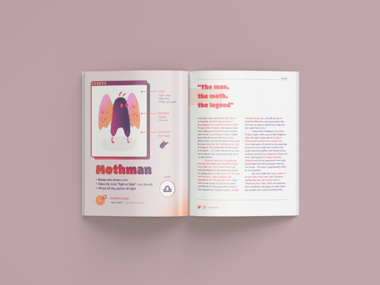 A descriptive profile of Mothman, his interests, hobbies, personality, and origin