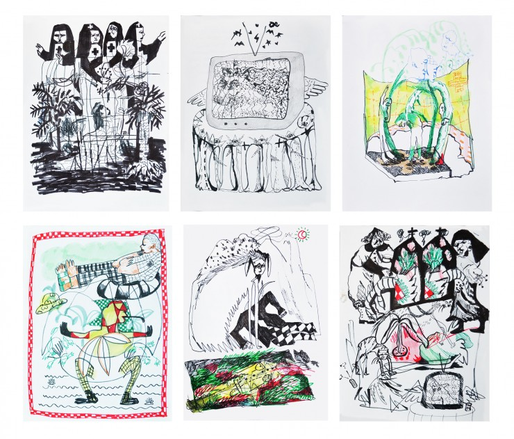 Six black and white pen illustrations featuring nuns, a TV set with a unicorn, and animals in a landscape.