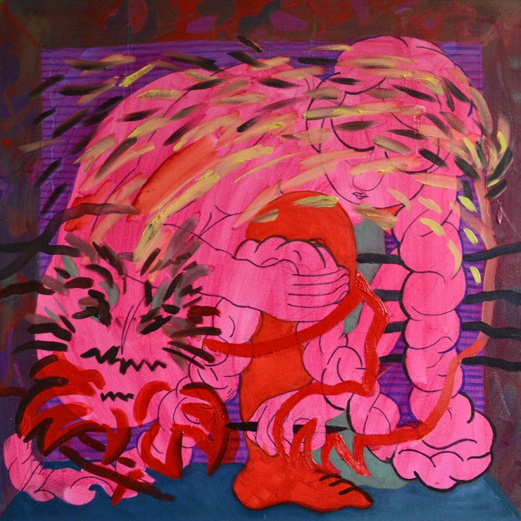 A square oil painting depicting a pink woman overlaid with a drawing of a tiger.
