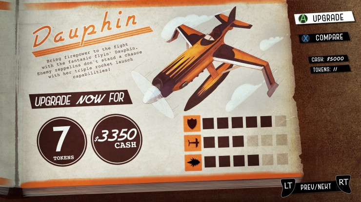A 1930s themed upgrade page with interactable buttons and and plane illustration. Illustration and Photoshopped.