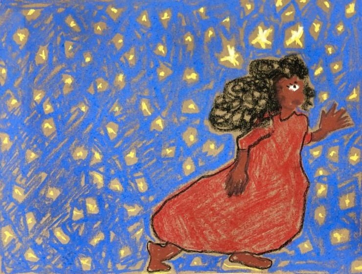 A brown skinned figure with long black hair and a red dress stands in a running position, faced rightward. She is standing in a flat space of blue sky, with yellow stars. Both the figure and the sky are drawn in a direct style.