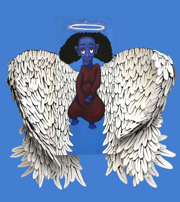 A central long canvas features a blue skinned angel in a red dress. She is suspended in the baby blue background, with a mischievous grin and stare toward the viewer. From the sides of her canvas, come two large cardboard formed wings that are hand painte
