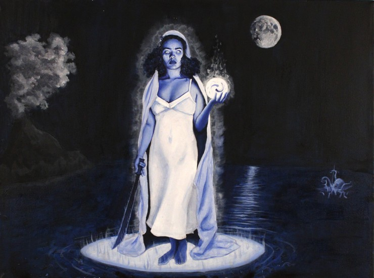 A prominent female figure stands on ocean waterin the center of the canvas. She is shrouded in white fabric, wearing a white dress, and emits a white light. In the left hand, the figure holds a glowing orb. In the right, the figure holds a machete that po
