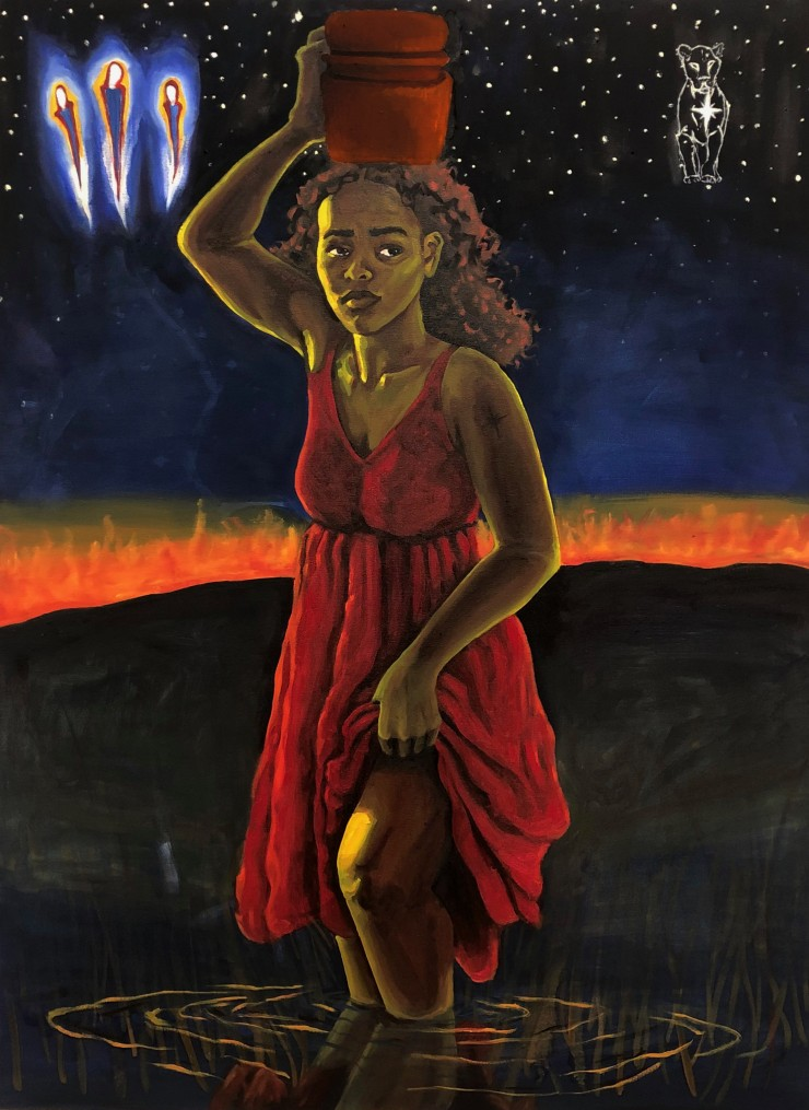 A feminine figure stands in water up to the knees. The figure wears a red dress that is being pulled up to not get wet by the body of water. Her right hand holds a vase, above her head. She shows a concerned and displeased facial expression. Her skin is b