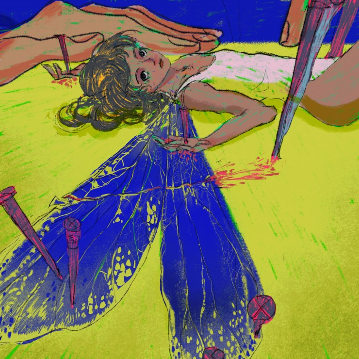 A girl with dragonfly wings nailed to a table, with her wings cut open by a sharp knife