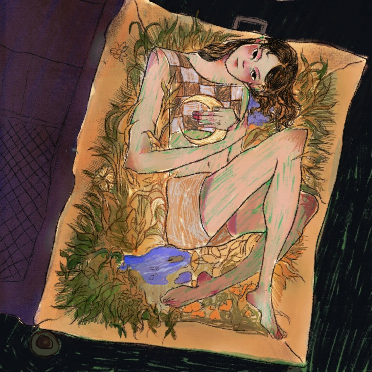 A girl curled up in the suitcase which is filled with grassland and lake