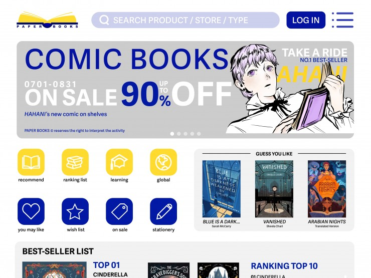 This is the web design of the physical book purchase website, which is divided into dark mode and light mode. The overall style of web design is modern, to arouse the interest of young people, because according to early surveys, it is shown that young peo