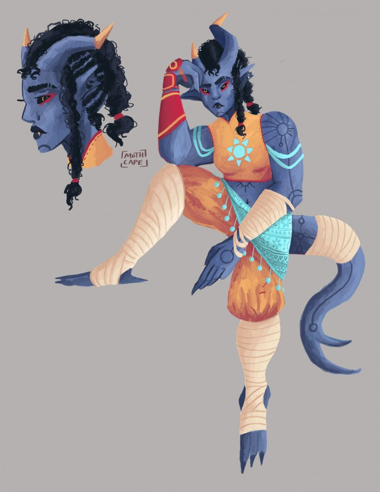 A character design of a blue demon girl in orange clothing with light teal accents.  The design includes a drawing of her relaxing, and a profile image of her face.
