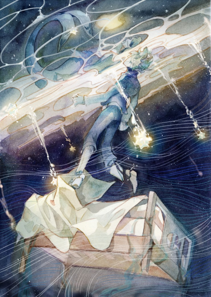 Maurice was a merman but accidentally being brought into human family. Because of the severe injury, his fishtail was removed and replaced with artificial limb. The first illustration is Maurice dreamed about the illusion of living in the ocean.