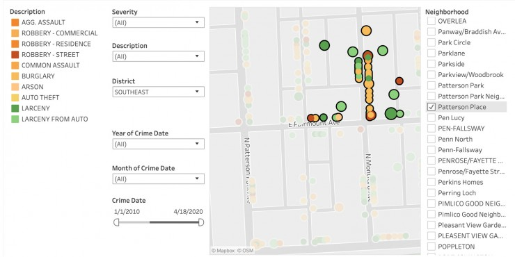 Crime data for the area around 100 N Montford Ave Baltimore, MD, from January 1, 2010, to April 18, 2020. Documents assaults, robberies, burglaries, arson, auto theft, larceny, and other crimes in that area of Patterson Place.
