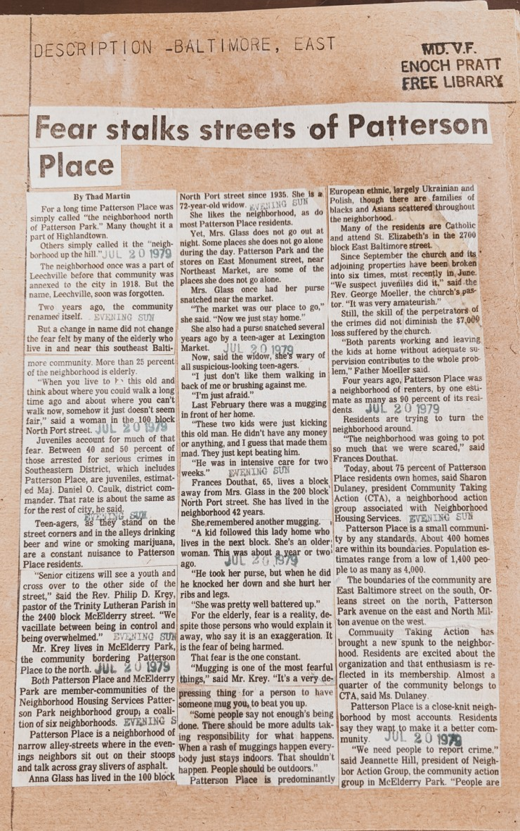 Newspaper clipping from July 20, 1979 regarding the fear and crime concerns of residents living in Patterson Place, Baltimore City, Maryland. File from Enoch Pratt Free Library.