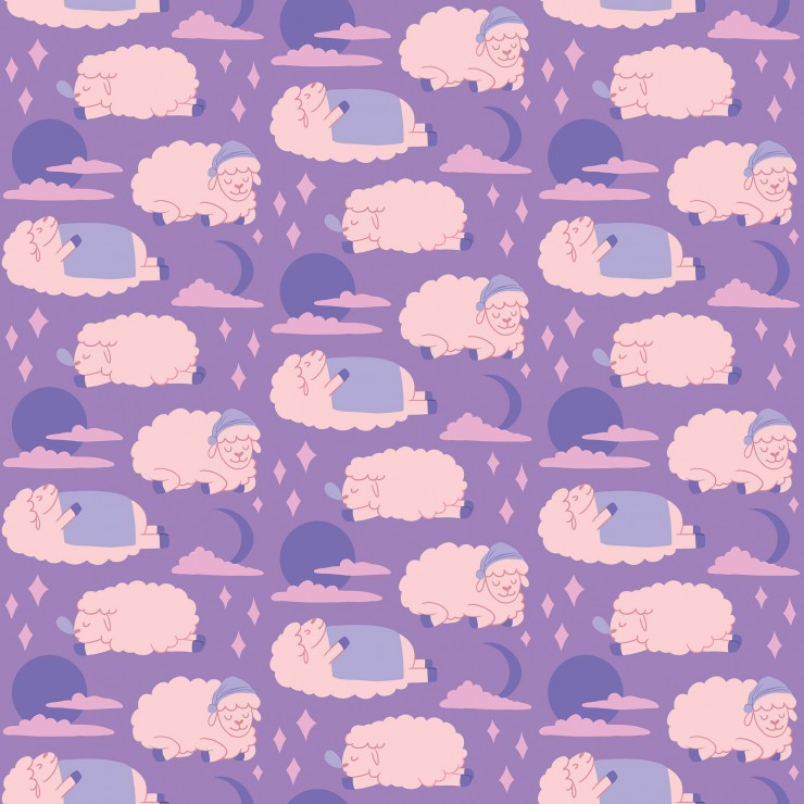 Repeating pattern of moons, stars, clouds, and sheep sleeping in various positions: on it's back with a blanket, on it's belly with a snot bubble coming out of it's nose, and with a sleep cap.