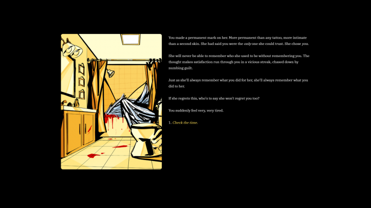 A screenshot of an interactive fiction game, That Which Faith Demands. In-game artwork features a close-up of a large, broken robot that is a hybrid between flesh and machine.