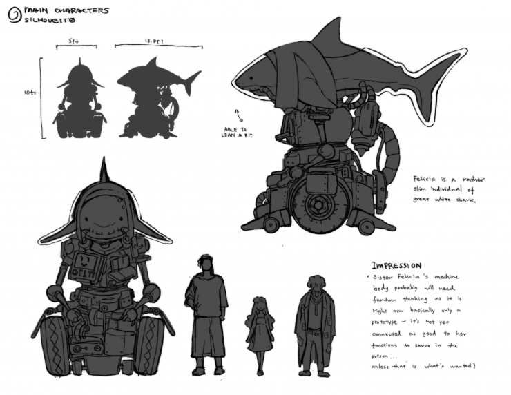 Main characters silhouette and lineup sheet.