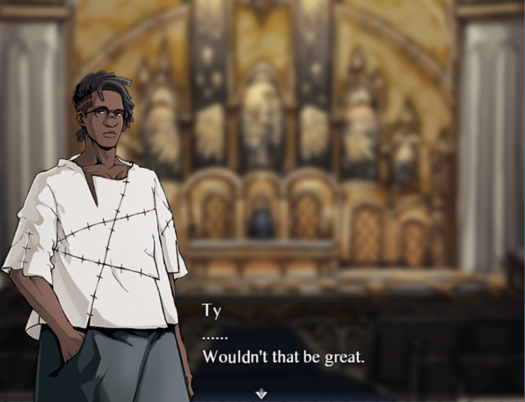 Left: A dialogue example of Ty speaking in the church.