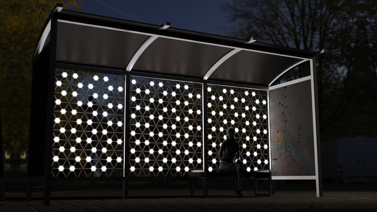 a bus stop that is part of the artist's thesis -