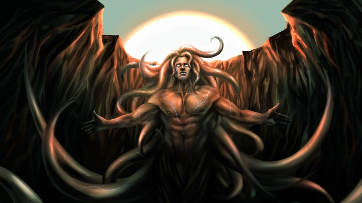 A muscular mman opens his arm. He has glowing eyes and tattoos on his body. He has tentacles as hair. They are reaching out. He is in a cave. The sky can be seen above his head.