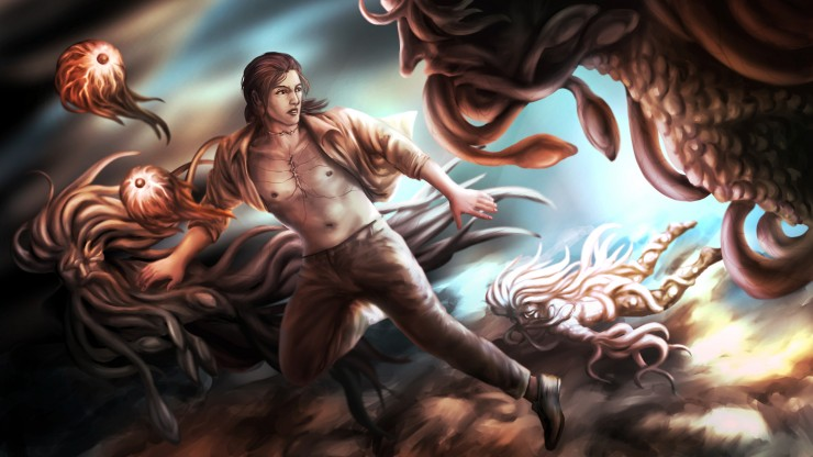A man swims underwater. There are two eyes floating in front of him. He is surrounded by three monsters with tentacles.