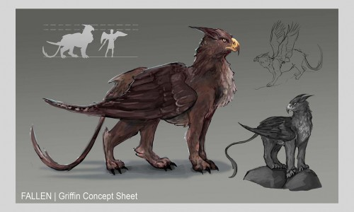 A griffin stands in the middle of the composition. The griffin is a animal hybrid of a lion and an eagle. He is dark brown and gives an intimidating glare.