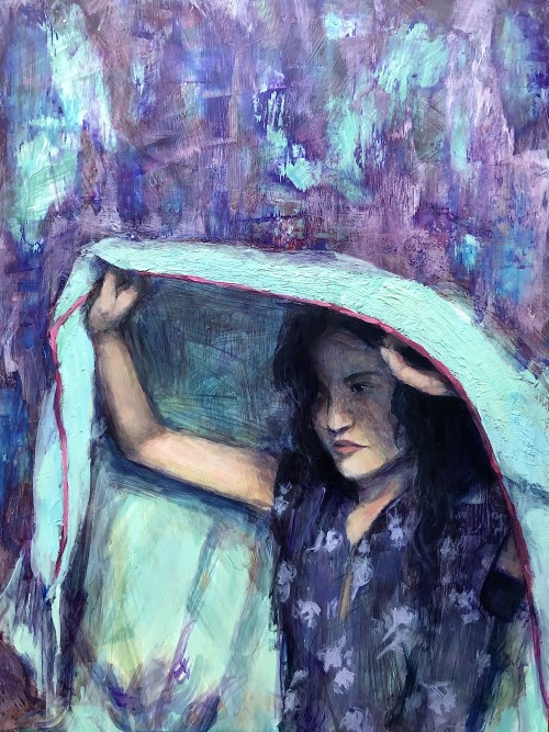 This piece, The Weight of Tomorrow, depicts a girl, in a floral dress, holding a blanket over her and a texture rich background of bright blues and purples. The top of the blanket is textured with heavy gel. Her expression is dull, but appearing to be in