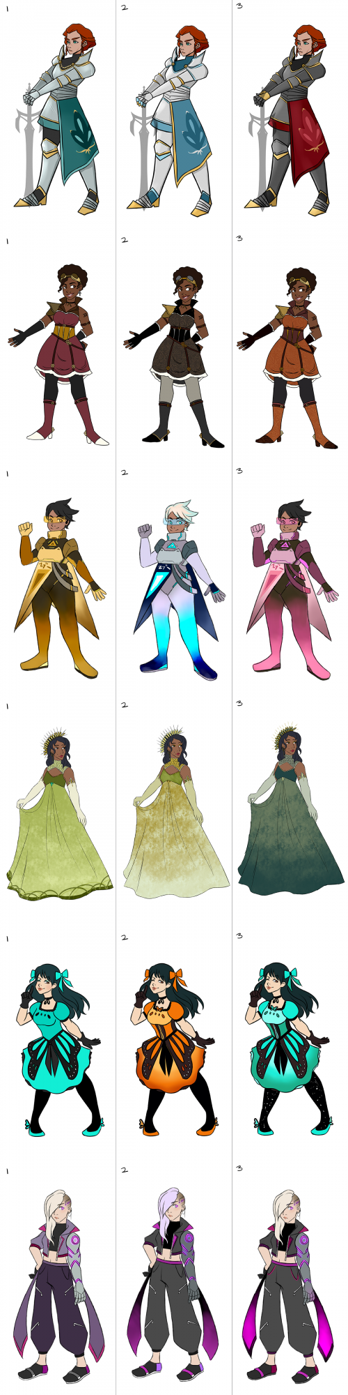 Different character color palettes for each character based on a specific genre (Medieval/Steampunk/Sci-Fi/Ceremonial/Magical Girl/Cyberpunk)