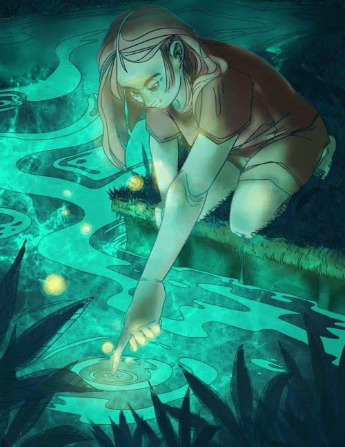 illustration; digital; girl at the edge of water; dark colors; bright lights
