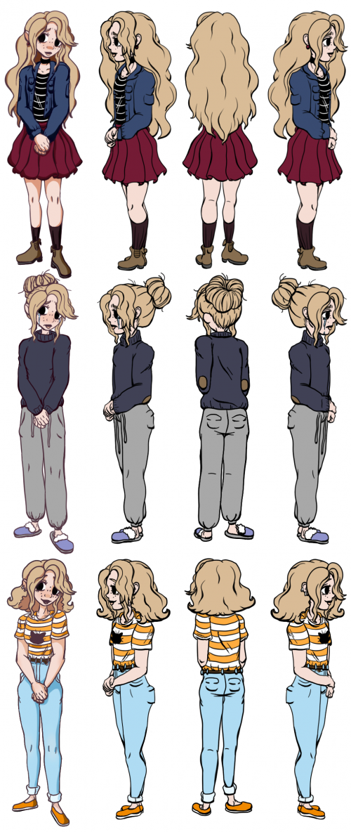 Character turnaround of the main character Jainey in all three outfits featured in the film
