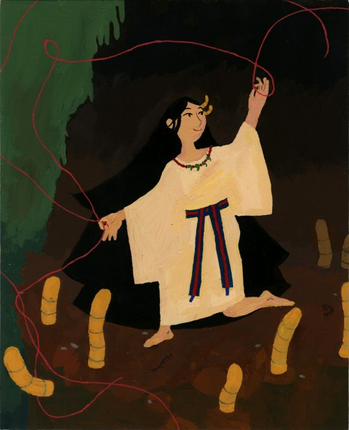 A painting depicting a female goddess manipulating the red string of fate in a cave amidst giant worms.