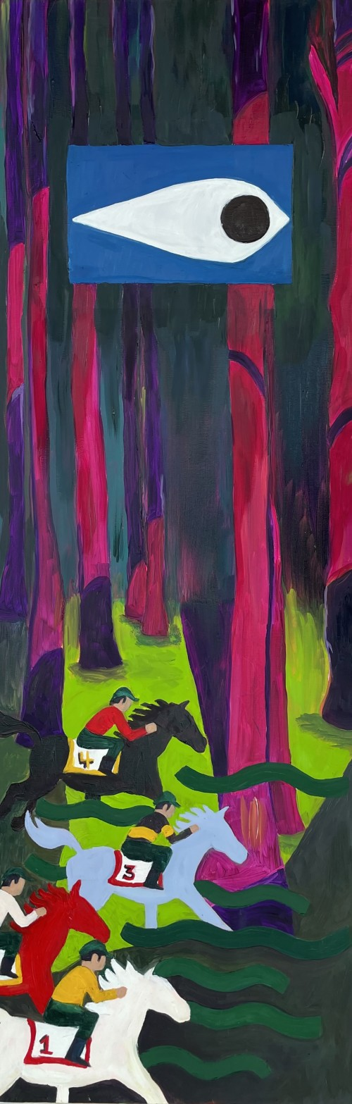 Long panel painting of a neon pink forest with four carnival horsemen in the bottom third, an inset square with the neighborhood watch eye is centered in the top third.
